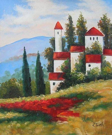 Obraz - Krajina s domy