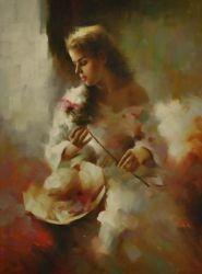 Obraz -  Žena s kloboukem a růží
