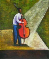 Obraz - Hráč na basu