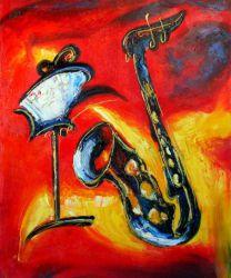 Obraz - Saxofón s notami