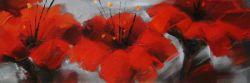 Červené květy na šedém pozadí I.