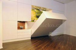 sklopná postel KLASIK - lamino (vysoký lesk) : 200x141 - 160cm / vyklápění z čela