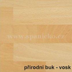 BMB - BUK přírodní - vosk  - postel MARIKA s čelním výklopným lamelovým roštem