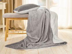 Sada Warm Hug 2021  šedá | přikrývka klasická (130 x 190cm)  + polštář 40 x 40cm, přikrývka rodinná (200 x 200cm)  + polštář 40 x 40