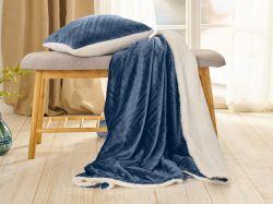 Sada Warm Hug 2021modrá | přikrývka klasická (130 x 190cm)  + polštář 40 x 40cm, přikrývka rodinná (200 x 200cm)  + polštář 40 x 40