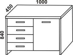 komoda STELA 4-zásuvková, 1-dveřová FMP