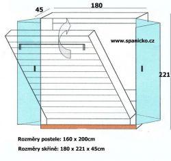 sklopná postel SKL 2 VKPT vč. skříně - dvoulůžko Sklápěcí postele