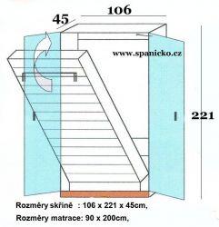 sklopná postel SKL 1 VNE vč. skříně - jednolůžko