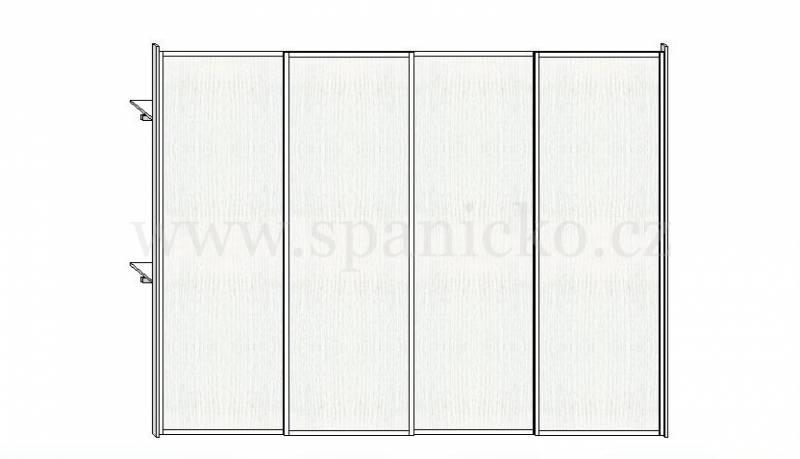 Skříň 3400mm * 4 dveře v ocelových rámech, bílá perlička 101 * korpus bílá perlička101 Vestavěné skříně