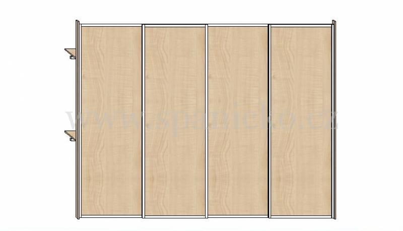 Skříň 3400mm * 4 dveře v ocelových rámech, javor 375 * korpus javor 375 Vestavěné skříně