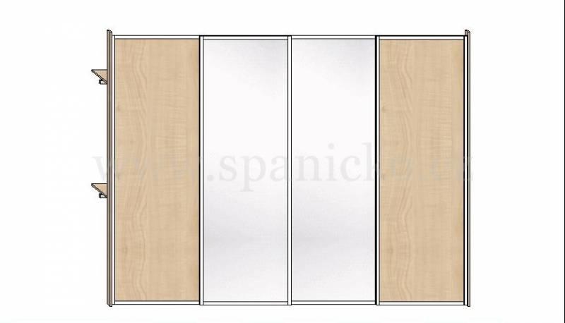 Skříň 3400mm * 4 dveře v hliníkových rámech, javor 375 a stříbrné zrcadlo * korpus: javor 375 Vestavěné skříně