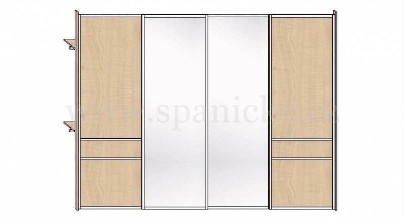 Skříň 3400mm * 4 dveře v ocelových rámech, javor 375 a stříbrné zrcadlo * korpus: javor Vestavěné skříně