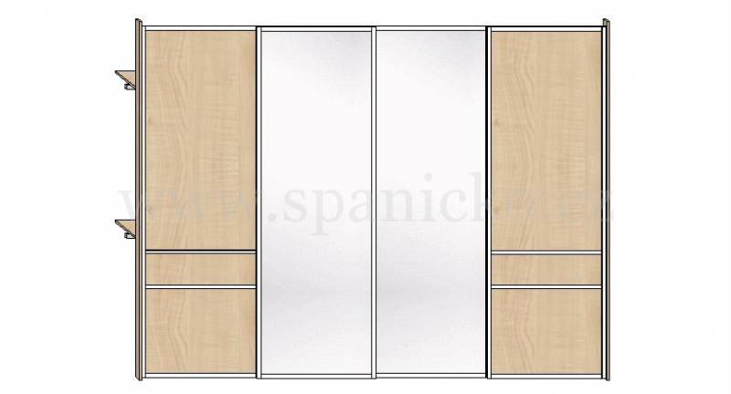 skříň s posuvnými dveřmi - zrcadlo