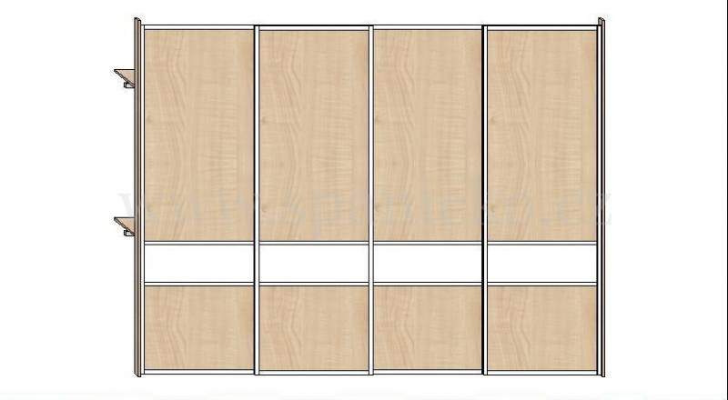 Skříň 3400mm * 4 dveře v ocelových rámech, javor 375 a lacobel bílý * korpus:javor 375 Vestavěné skříně