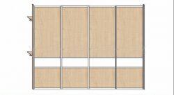 Skříň 3400mm * 4 dveře v hliníkových rámech, javor 375 a lacobel bílý * korpus javor 375