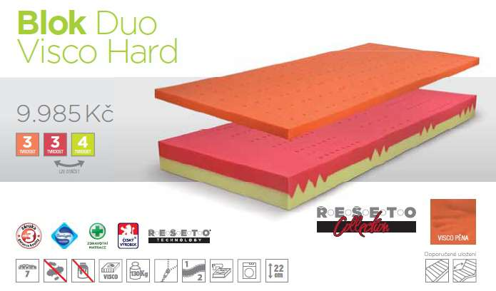 matrace Blok Duo Visco Hard D.P.V.