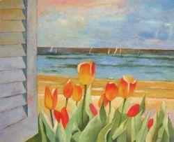 Obraz - Krásný koutek s tulipány