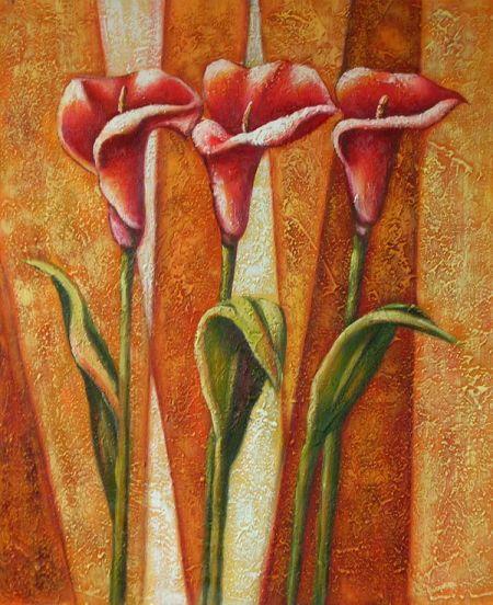 Obraz - Tři červené kaly I.
