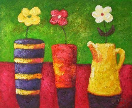 Obraz - Tři vázy a tři květy