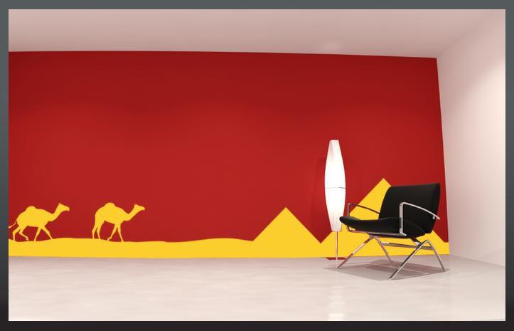 Samolepka na zeď - Panorama VELBLOUDI