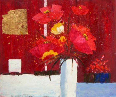 Obraz - Červené květy ve váze