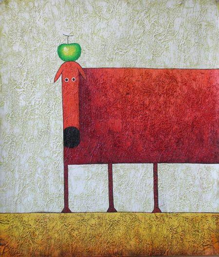 Obraz - Červený pes s jablkem