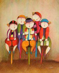 Obraz - Děti na kolách