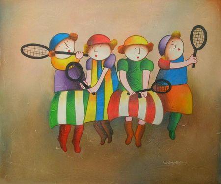 Obraz - Děti s pálkami na tenis