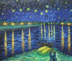 Obraz - Hvězdná noc nad Rhônou