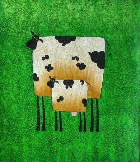 Obraz - Kráva s telátkem