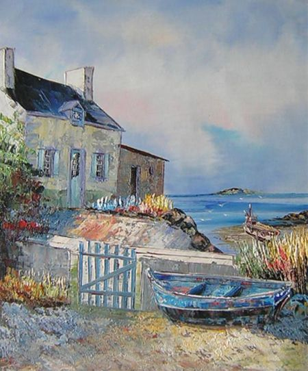 Obraz - Pobřeží s loďkou