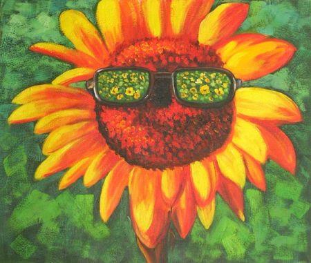 Obraz - Slunečnice s brýlemi