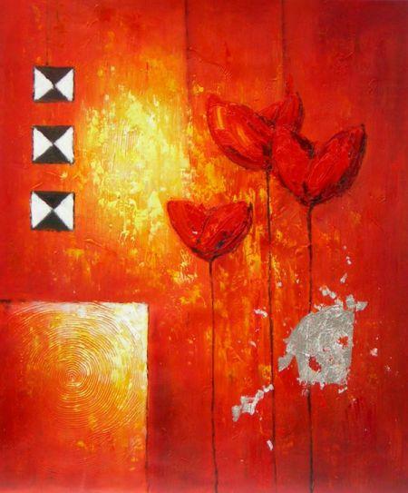 Obraz - Tři červené květiny I.