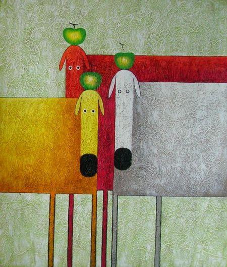Obraz - Tři krávy a tři jablka
