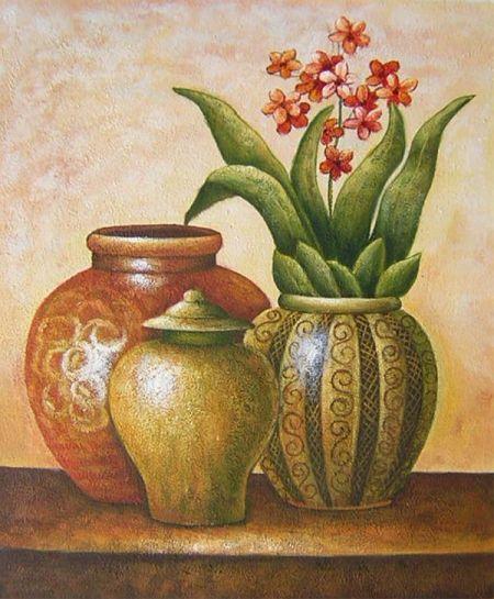 Obraz - Tři vázy s květinami