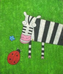 Obraz - Zebra s beruškou