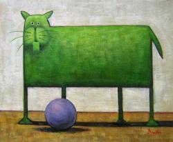 Obraz - Zelená kočka s míčem