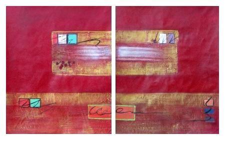Obrazový set - Červená a zlatá