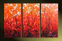 Vícedílné obrazy - Červené stromy