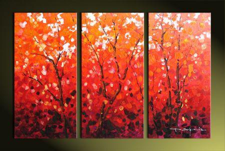 Vícedílné obrazy - Červené stromy I.